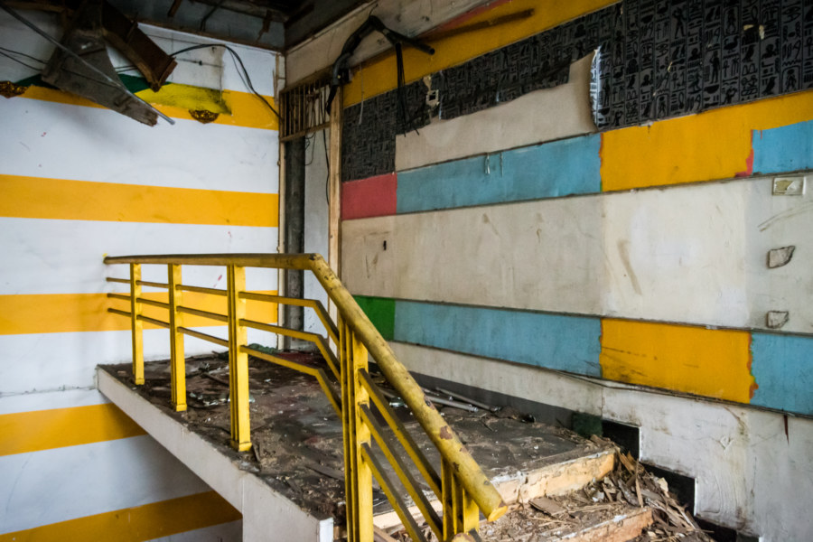 Steps to the office in the abandoned bowling alley