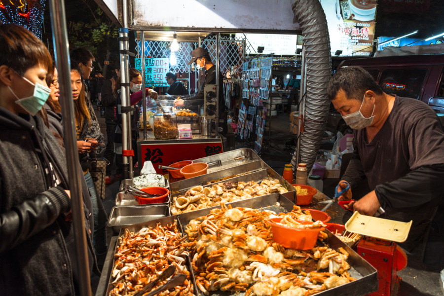 Fried seafood by weight at Caotun Tourist Night Market