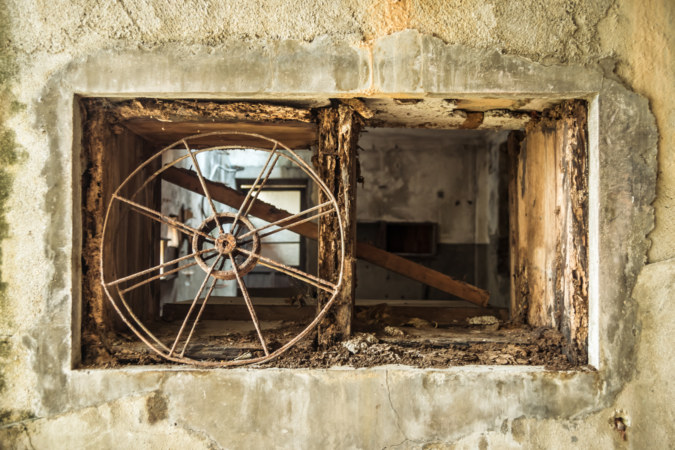 Abandoned film reel at Guohua Theater