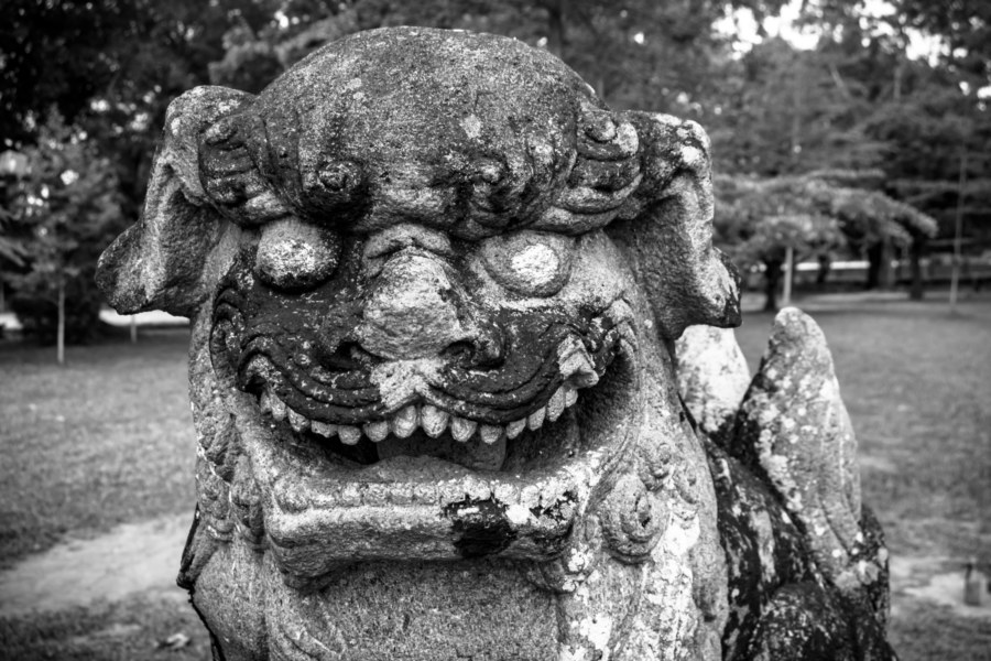 Stone Lion at the Former Zhushan Shinto Shrine