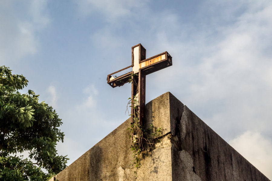 Rusty cross over an abandoned Catholic church in Pingtung