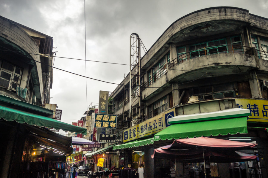 Moody skies over a market area in Pingtung City