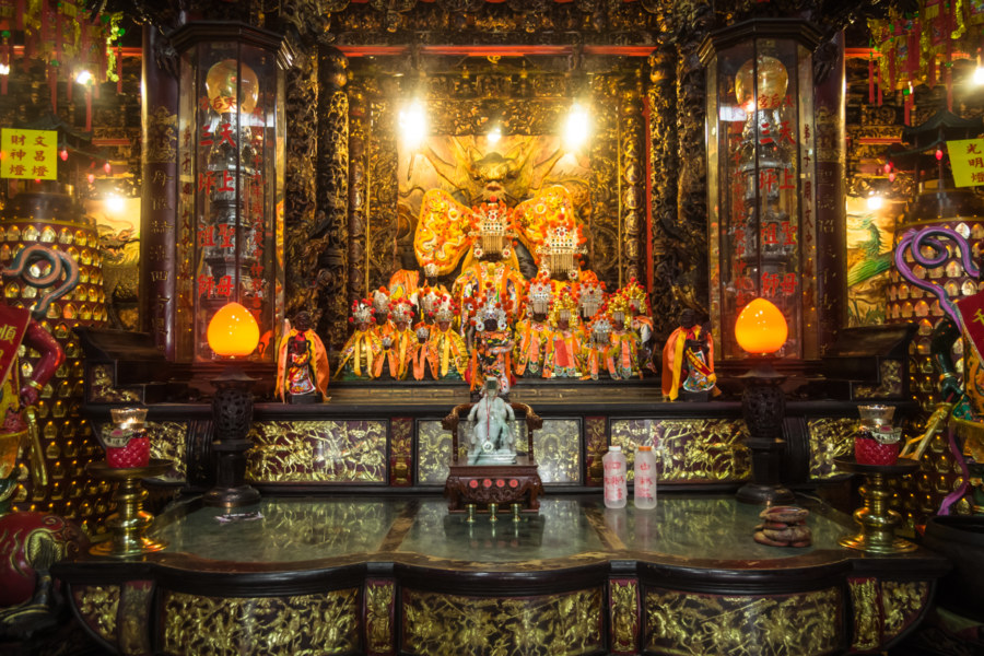 Main altar at the Mazu temple in Pingtung City