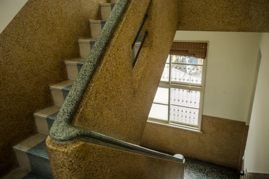 Smooth plastered stone stairway in Pingtung City