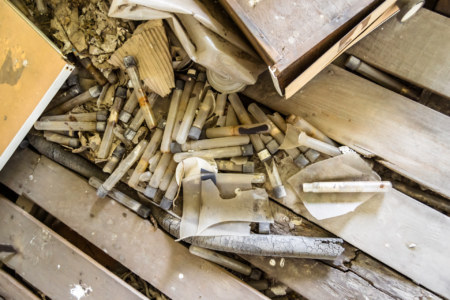 Broken vials in the old factory
