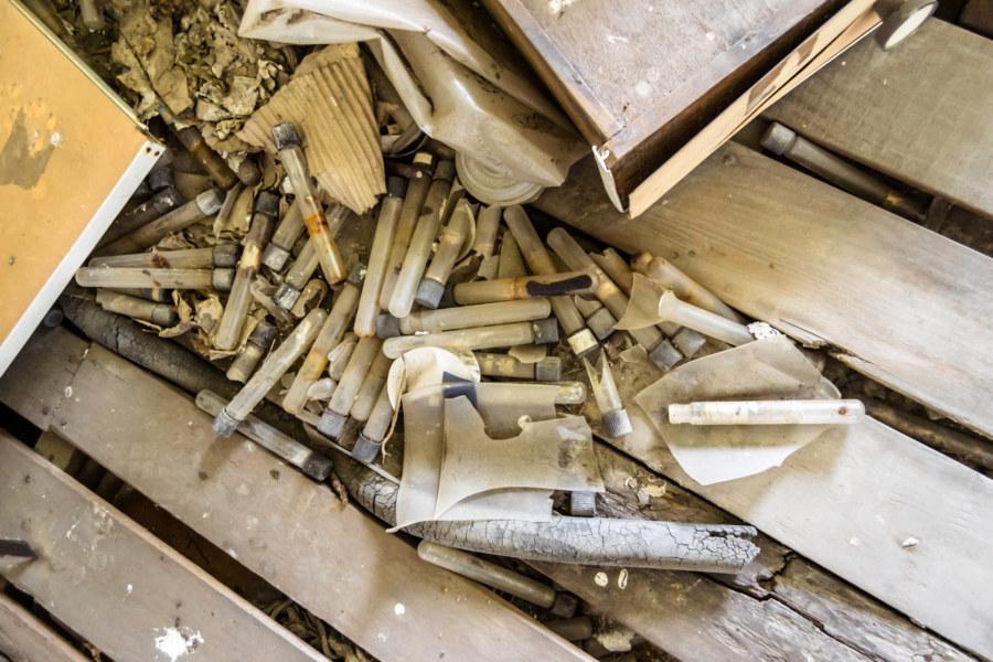 Broken vials in the old factory