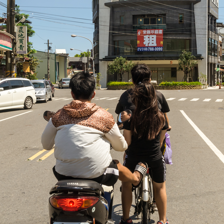 Crazy kids driving on the streets of Pingtung