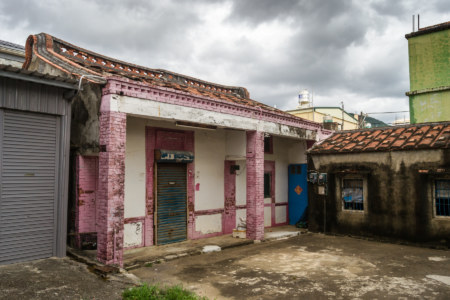 A pink traditional home in the fishing village of Fenggang