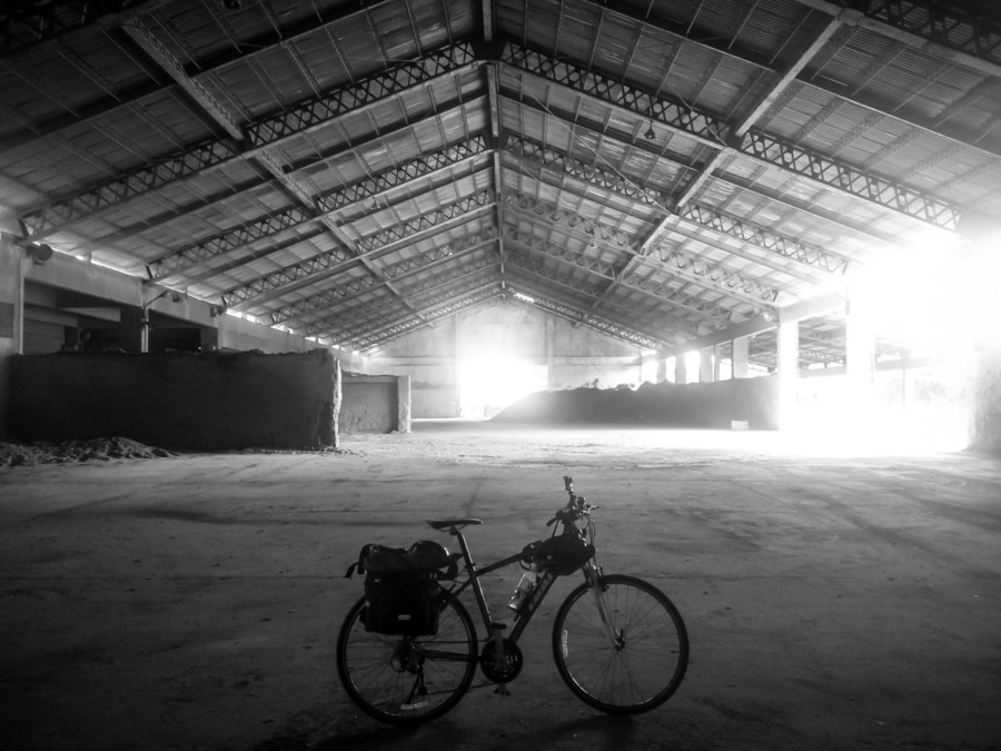 Biking around a vast warehouse complex in Kaohsiung