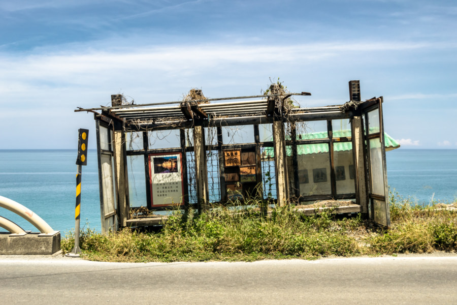 An abandoned bus stop on Highway 9