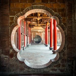 An ornate doorway inside Huangxi Academy 磺溪書院
