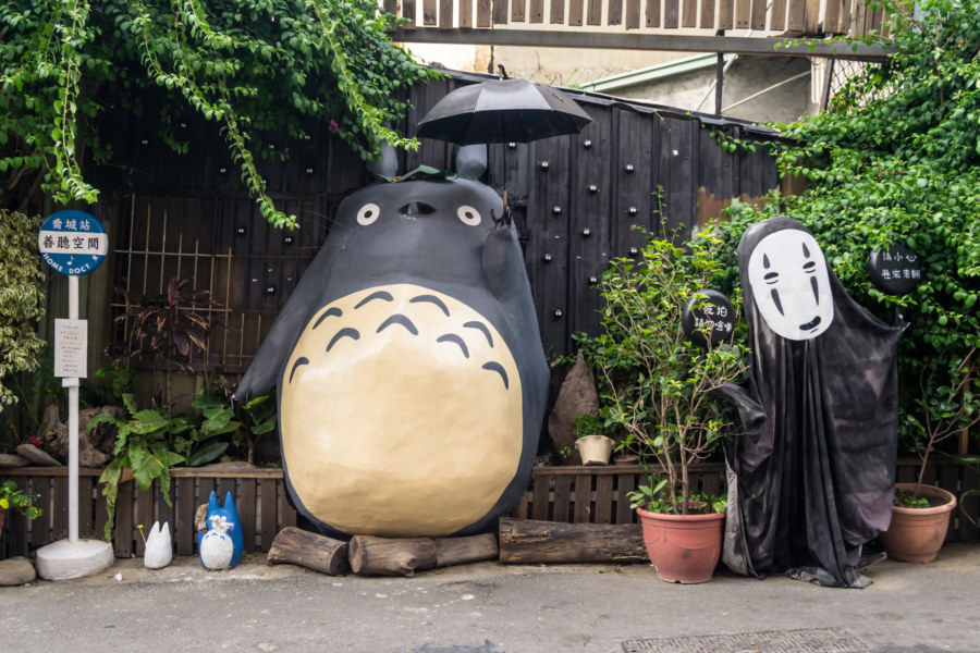Totoro and No-Face at a bus stop in Taichung