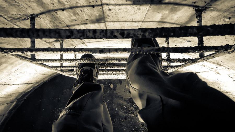 A precarious climb on rusty rungs