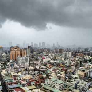 A storm sweeps across Taichung