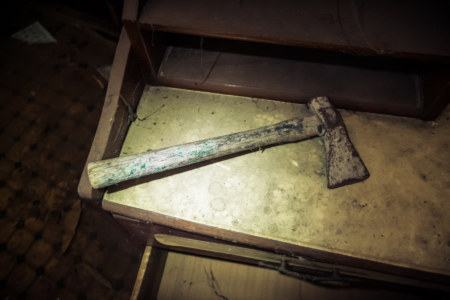 White axe in an abandoned police station