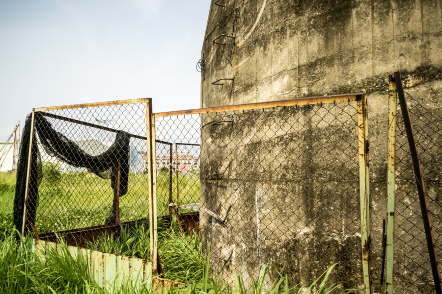 It isn't hard to find a way inside this gun tower in Taichung