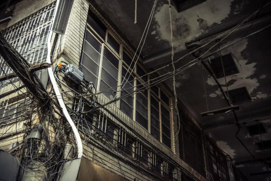Crazy wiring inside Ximen Market, Tainan