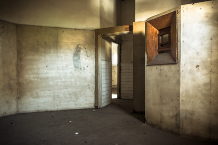 X-ray room in the abandoned hospital