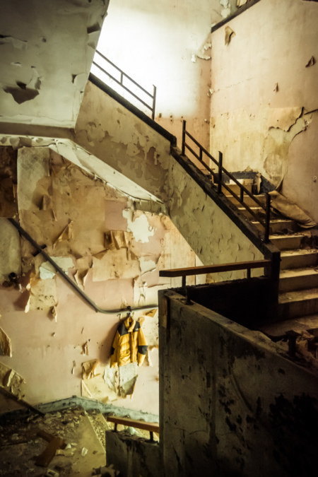 Stairway inside an abandoned hot springs hotel in Beitou