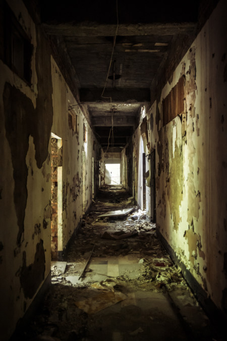 A spooky hallway in an abandoned hot springs hotel in Beitou