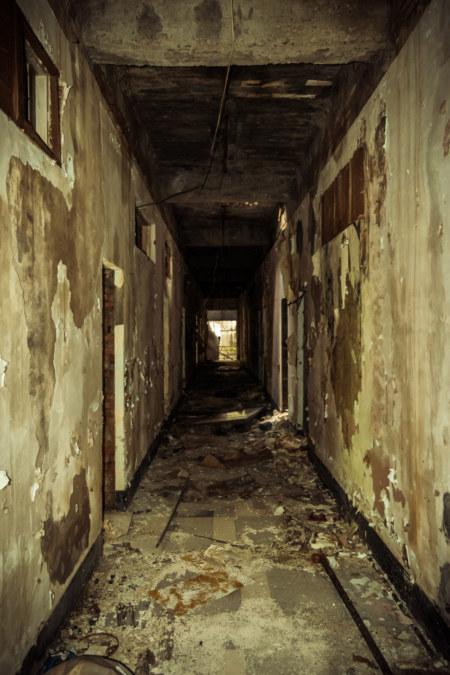 A spooky hallway lit up
