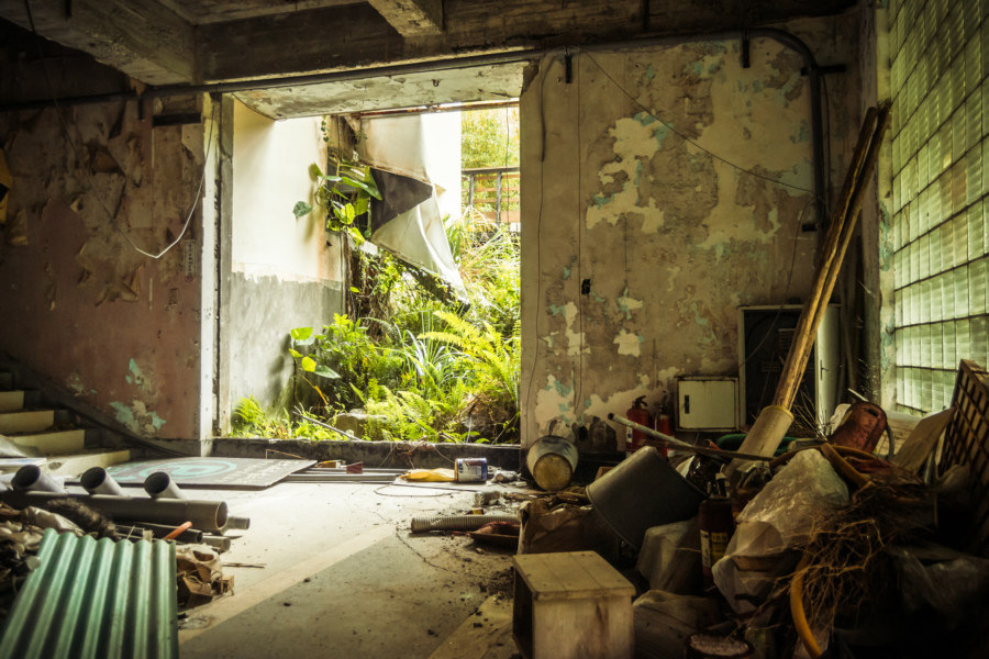 The ground floor of an abandoned hot springs hotel in Beitou