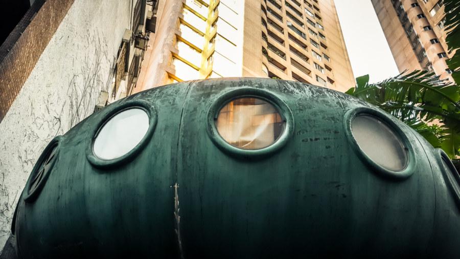 A strange sight in urban Taipei