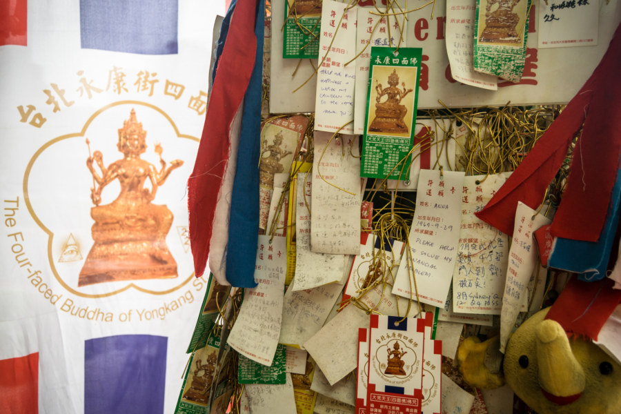 Wishes at the Four-Faced Buddha of Yongkang Street