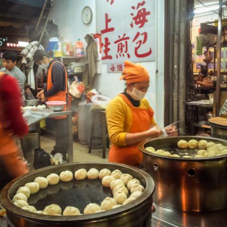 Shanghai dumplings at Jingmei Night Market