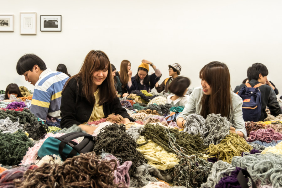 Lazing around in the yarn installation at the Taipei Biennial 20