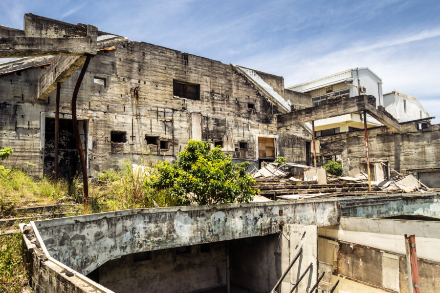 Balcony seats in the abandoned movie theater in Taitung City