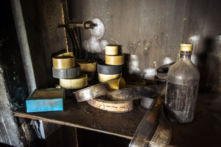 Film stock and supplies in the projection room