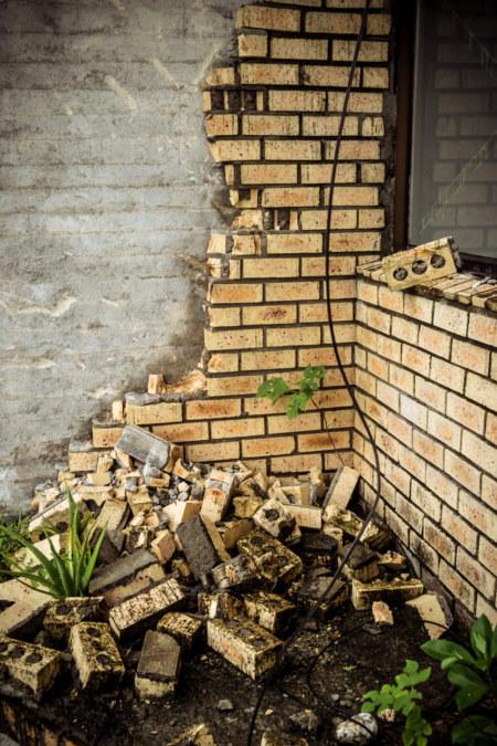 A crumbling facade