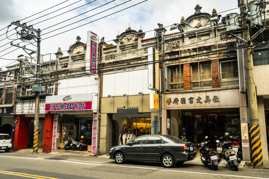 A row of colonial storefronts in Yangmei