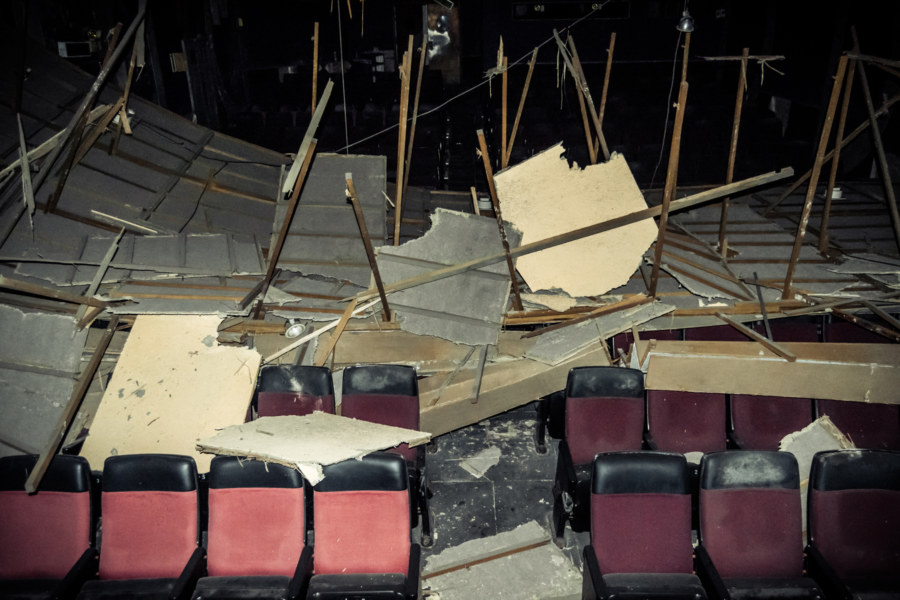 Where the ceiling caved in at Dadong Theater