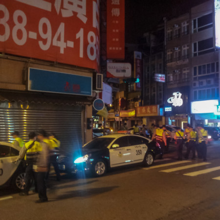 Cops raiding a KTV in Zhongli