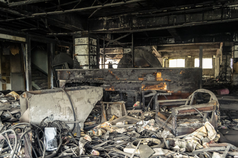 Charred Remains in the Guobin Commercial Building