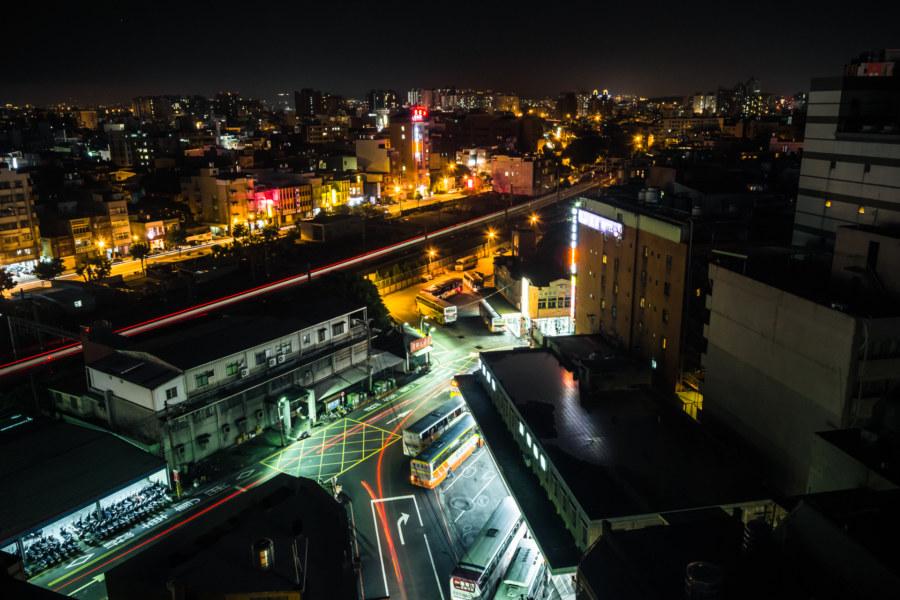 Zhongli bus station by night
