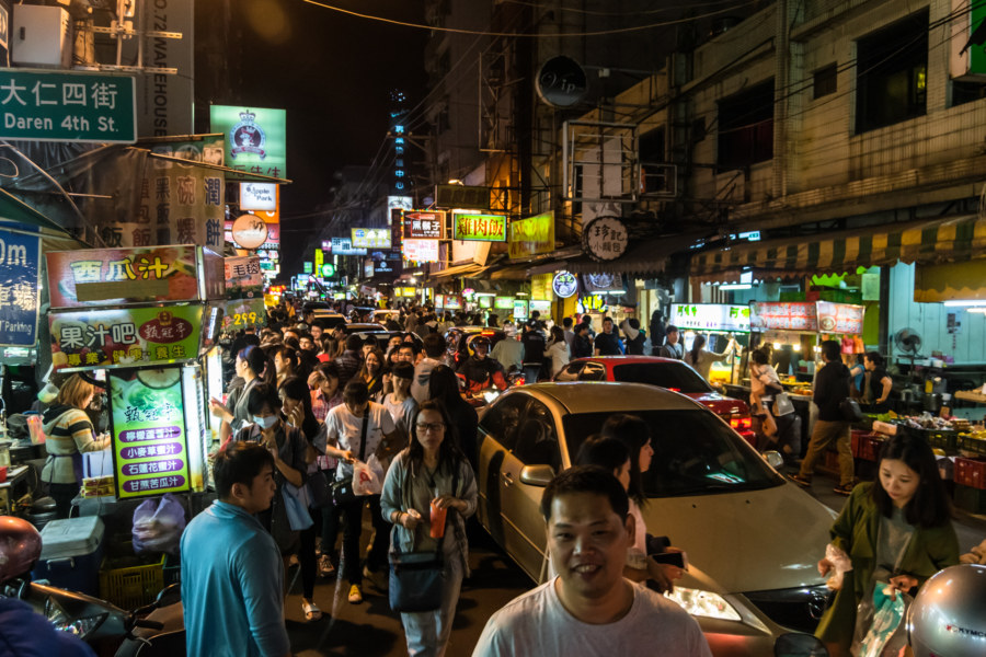 Insane traffic at Zhongyuan Night Market