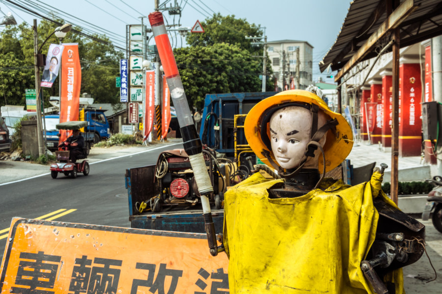A warning dummy in rural Changhua