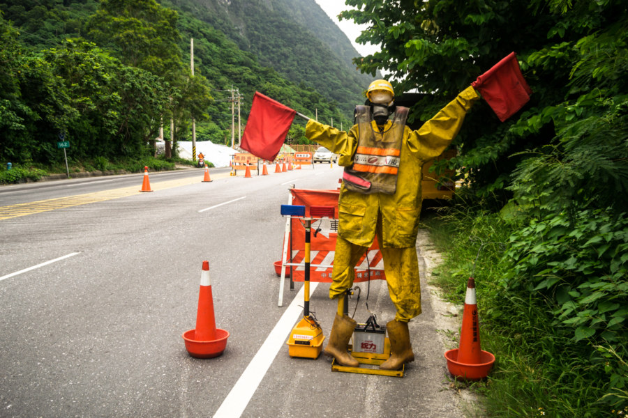 Road safety dummy on the Suhua highway