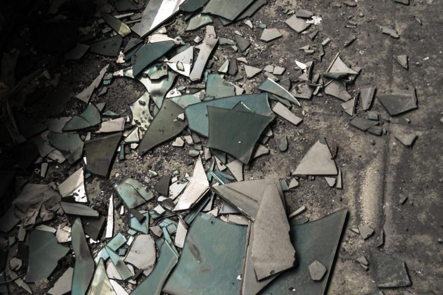 Broken glass on the second floor