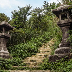 Stone lanterns on the steps to the Ogon Shrine 黄金神社