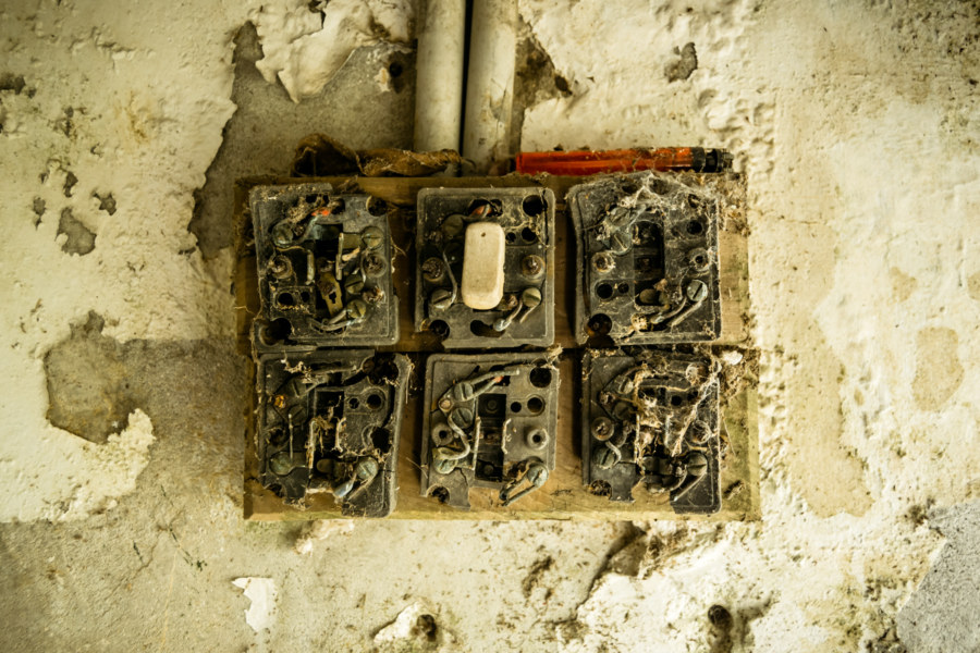 Light switches in the ticket booth at Donghe Theater 東和戲