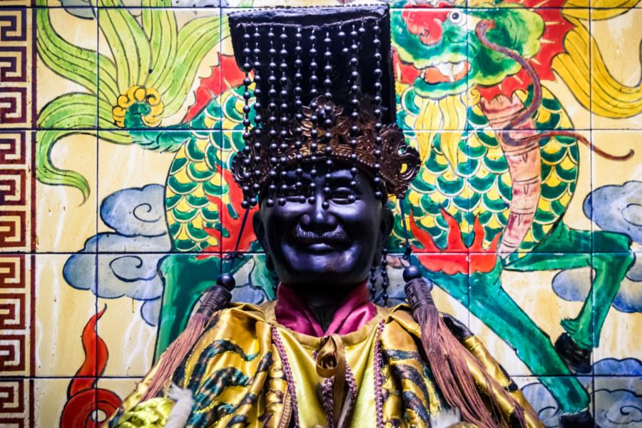 A statue of Chiang Kai-shek inside Kuixing Temple, Tamsui