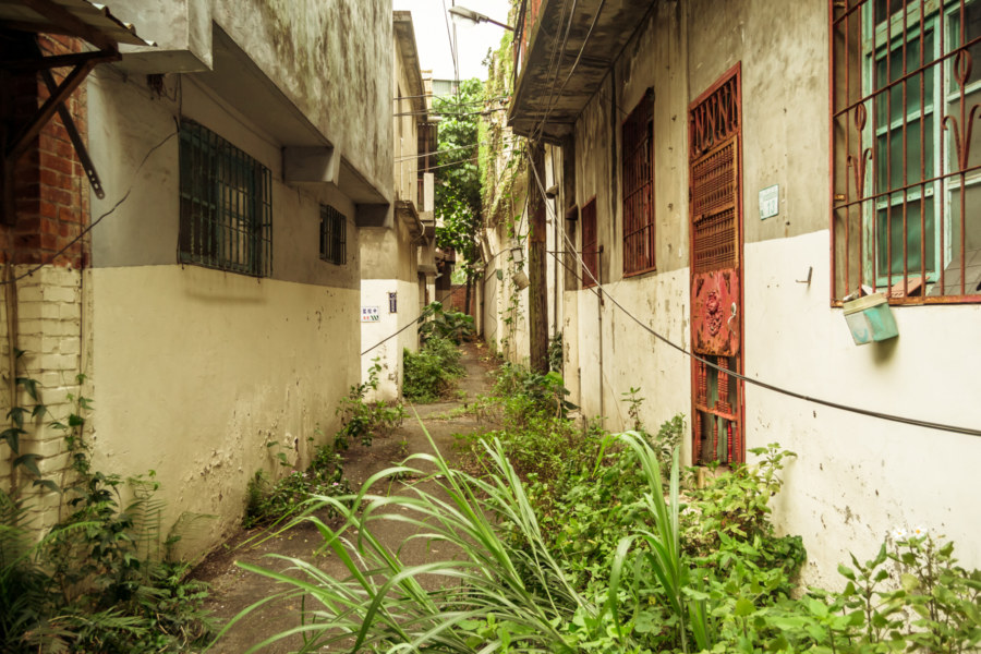 Rows of homes inside Jiangling New Village