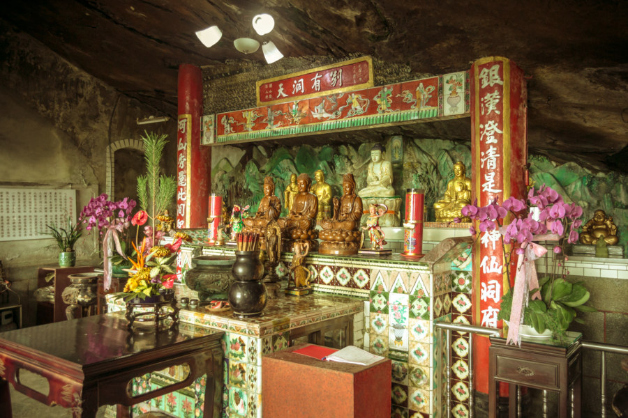 The shrine inside the temple at Yinhe Cave