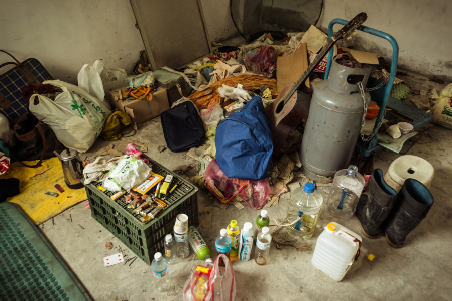 Squatter's room in an apartment block in Suao
