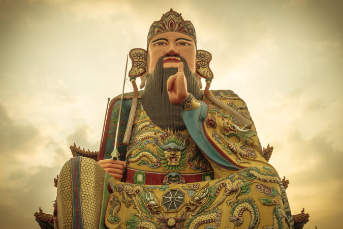 The gigantic statue on top of Hengwen temple, Yuanlin