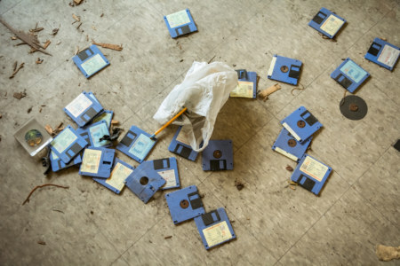 Abandoned diskettes in the Douliu Door Building